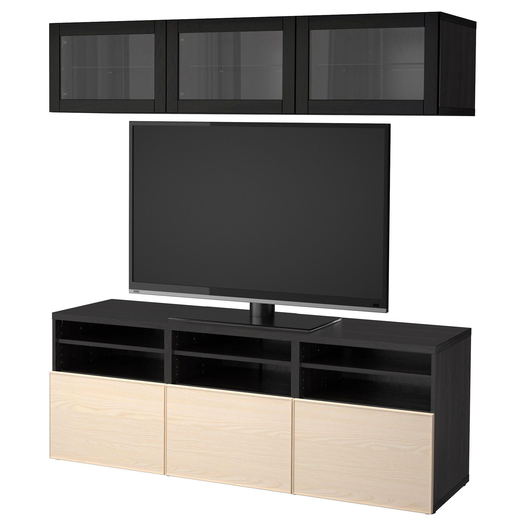 Ikea Besta Tv Storage Combination Glass Doors Black Brown Sindvik Living Storage Ikea Living Furniture