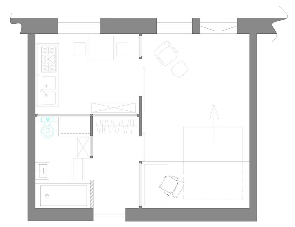 c76c8718ea783 Планировка однокомнатной квартиры - мини-лофт 38 кв м   дизайн ...