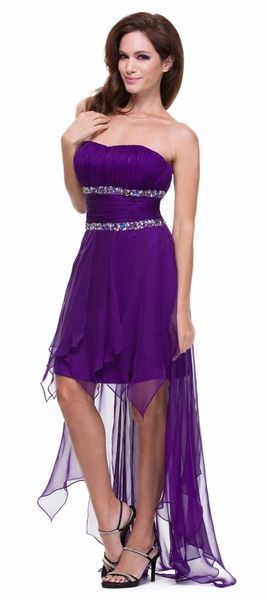 Lace Up Back Purple High Low Dress Chiffon Beaded Waist Strapless ...