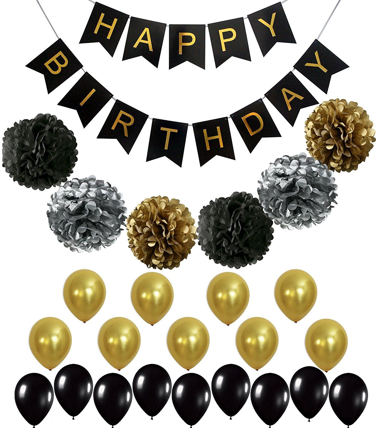 Perfect Black And Gold Decoration Set Happy Birthday Banner