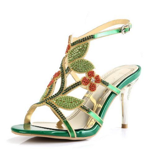 6cb93da31567 Kvoll Women s PU Sandals Studded Heels Sandle with Studded Rhinestones  Leaf
