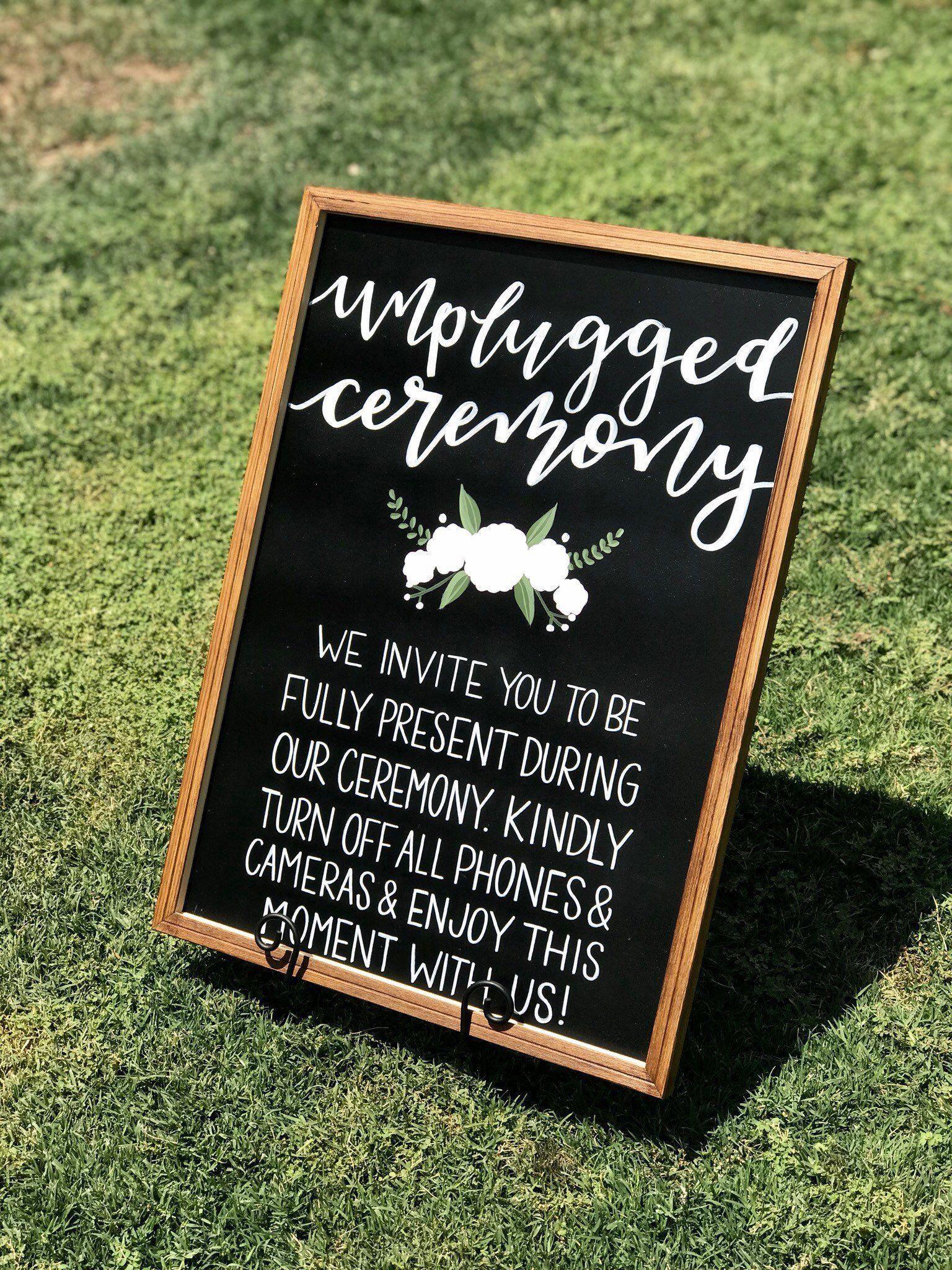 Unplugged Ceremony Sign Funny Weddingdecorationsclassy