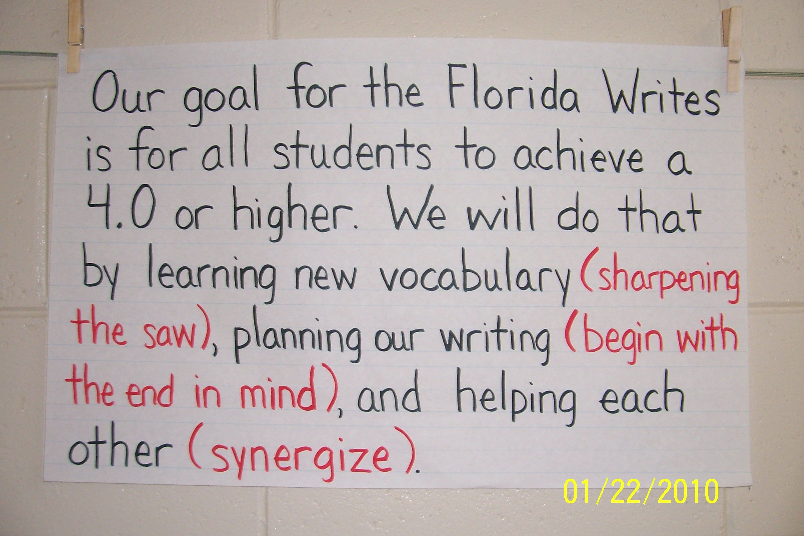 This Classes Goal Setting Poster Was Created By The
