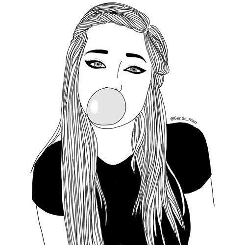Noir Et Blanc Dessin Style Equipement Cheveux Girl Tumblrs