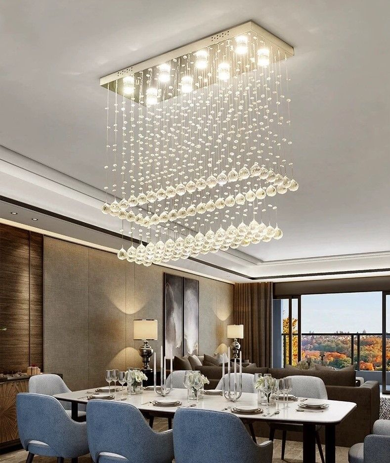Contemporary Rectangular Ceiling Light Double Layer Crystal Chandelier Crystal Lighting Dining Room Ceiling Lights Chandelier