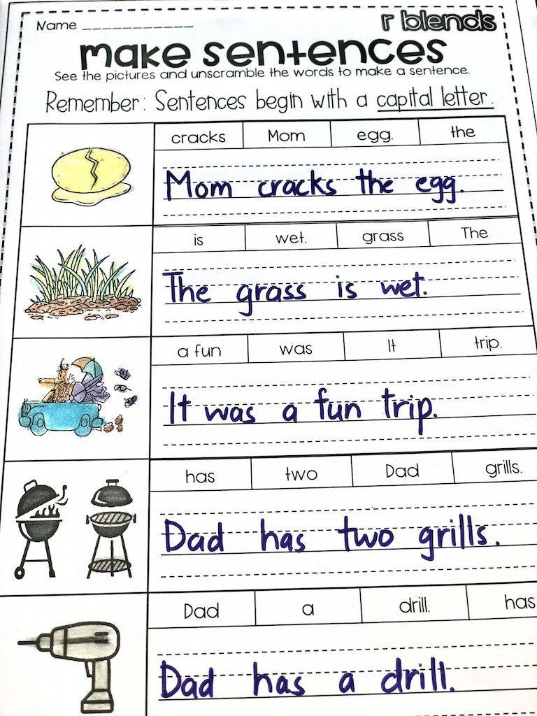 FREE** Build the r blend sentences www.englishsafari.in #consonant  Unscramble t…   Blends worksheets [ 1024 x 768 Pixel ]