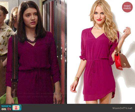 8b0754455af Zoe s pink drawstring dress on Degrassi. Outfit Details  http   wornontv.