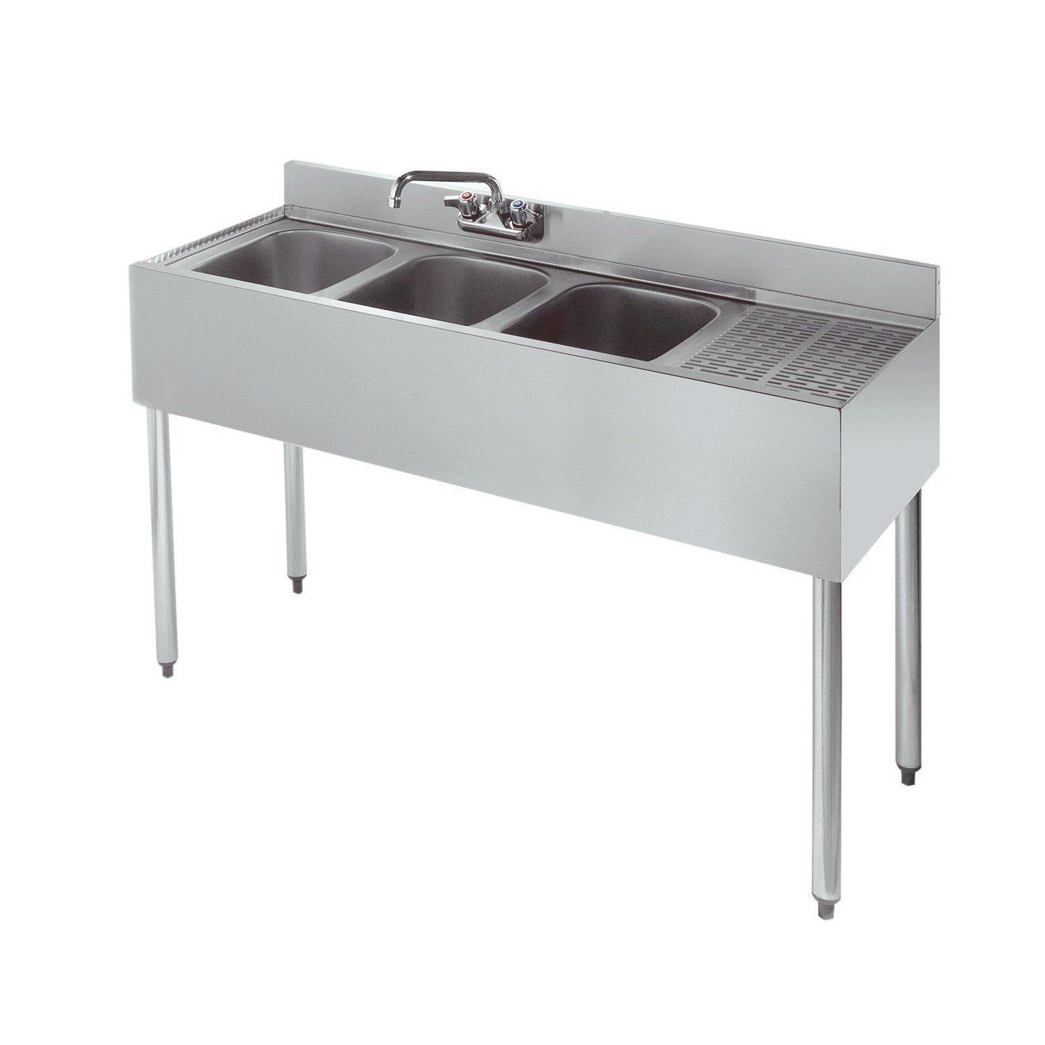Stainless Steel 3 Compartment Underbar Sink 48 With Drainboard On