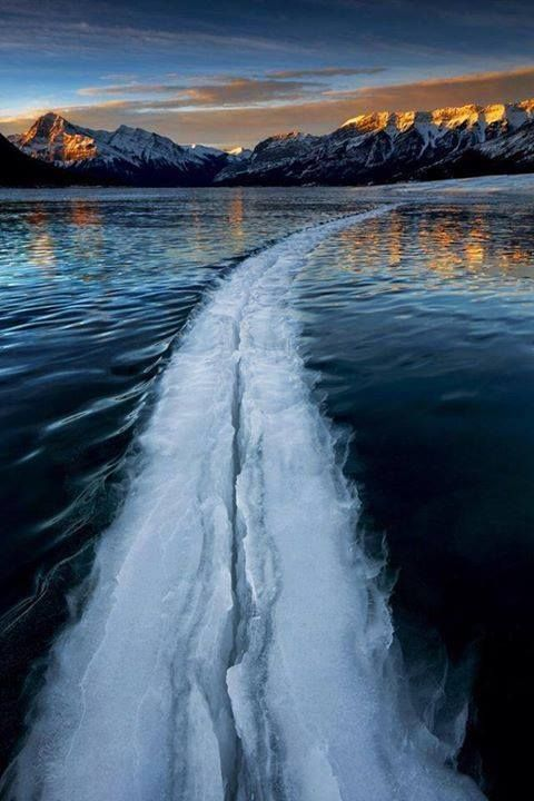 Large crack in a frozen lake, Canada Please Follow:- +Wonderful World