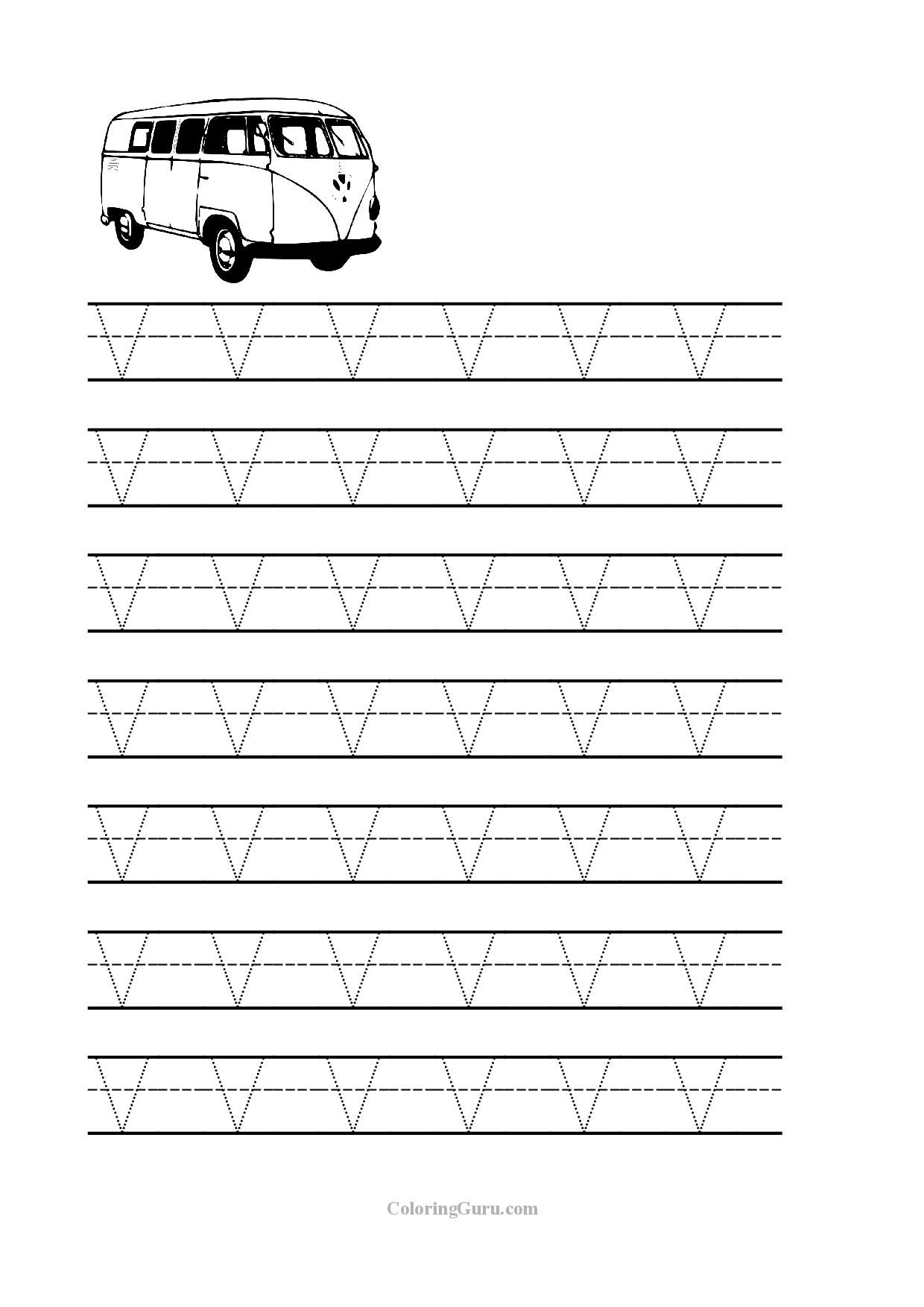Free Printable Tracing letter W worksheets for preschool – Letter V Worksheets for Kindergarten