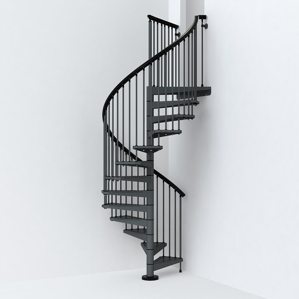 Sky030 55 In Iron Grey Spiral Staircase Kit K26286 Spiral