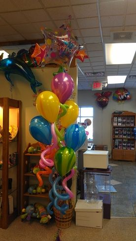 Happy Birthday Bouquet With Agates And Twirling Balloons