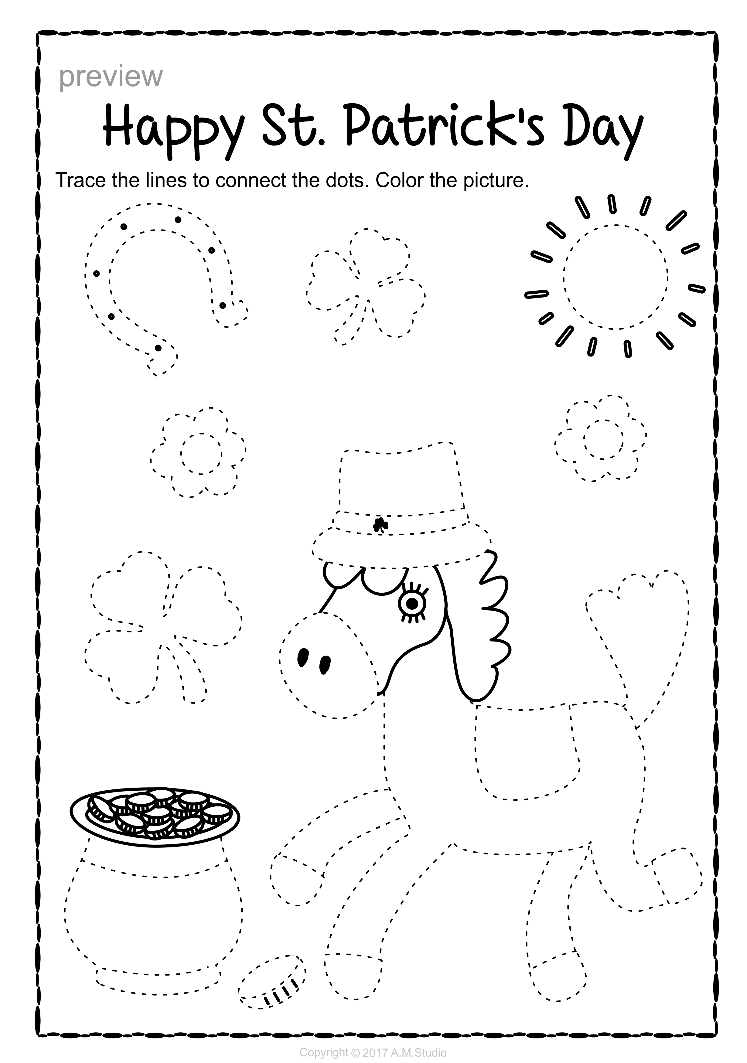 St Patrick S Day Trace And Color Pages Fine Motor Skills