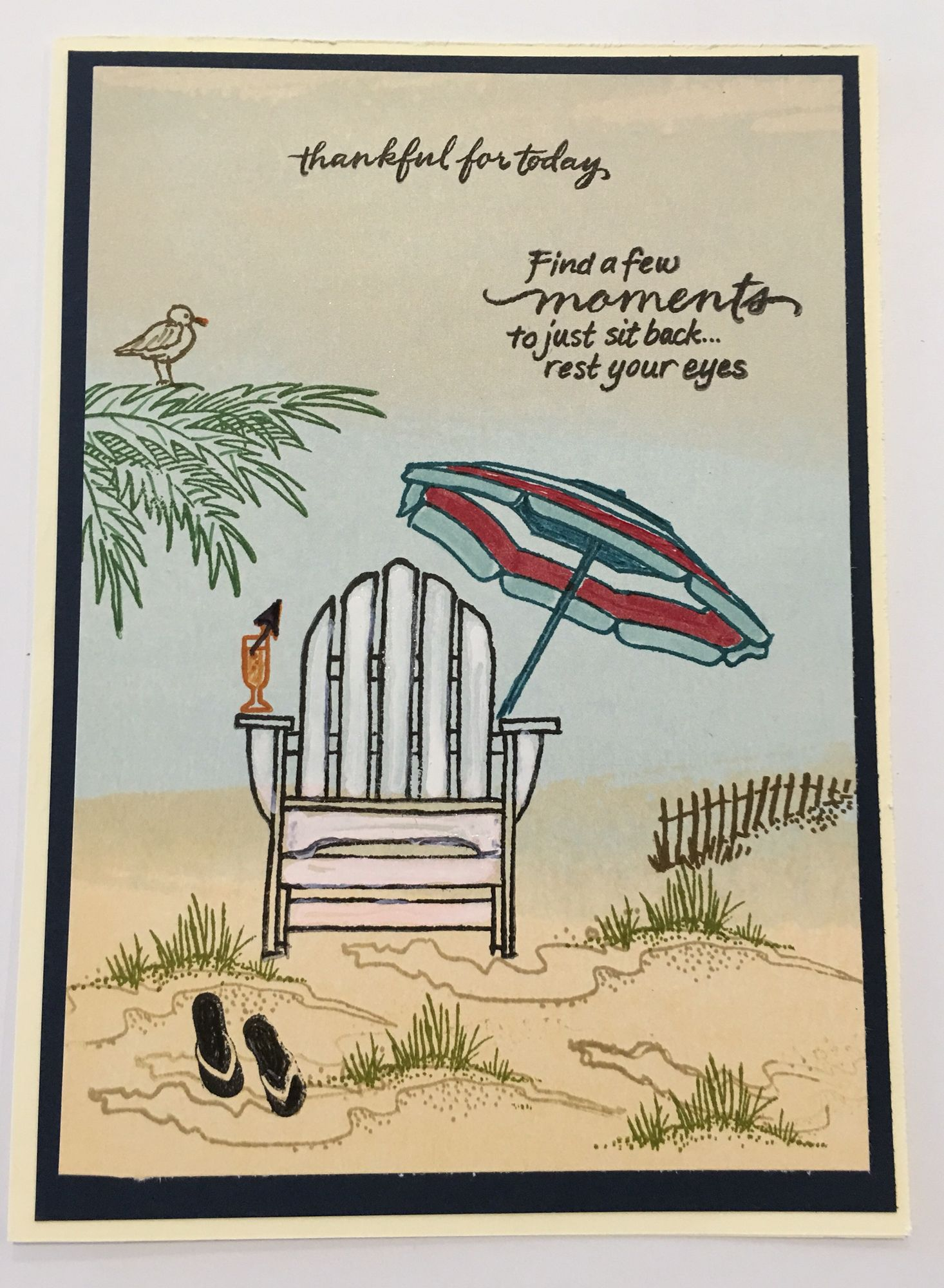 CBY  Thankful for today beach scene with chair umbrella