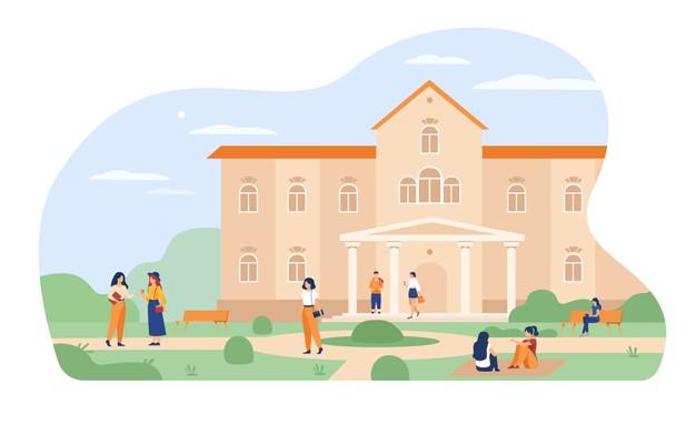 Jovenes Estudiantes Caminando Frente A La Universidad O Edificio De Colegio Ilustracion Vectorial Pl In 2021 University Campus Colleges And Universities Education Logo