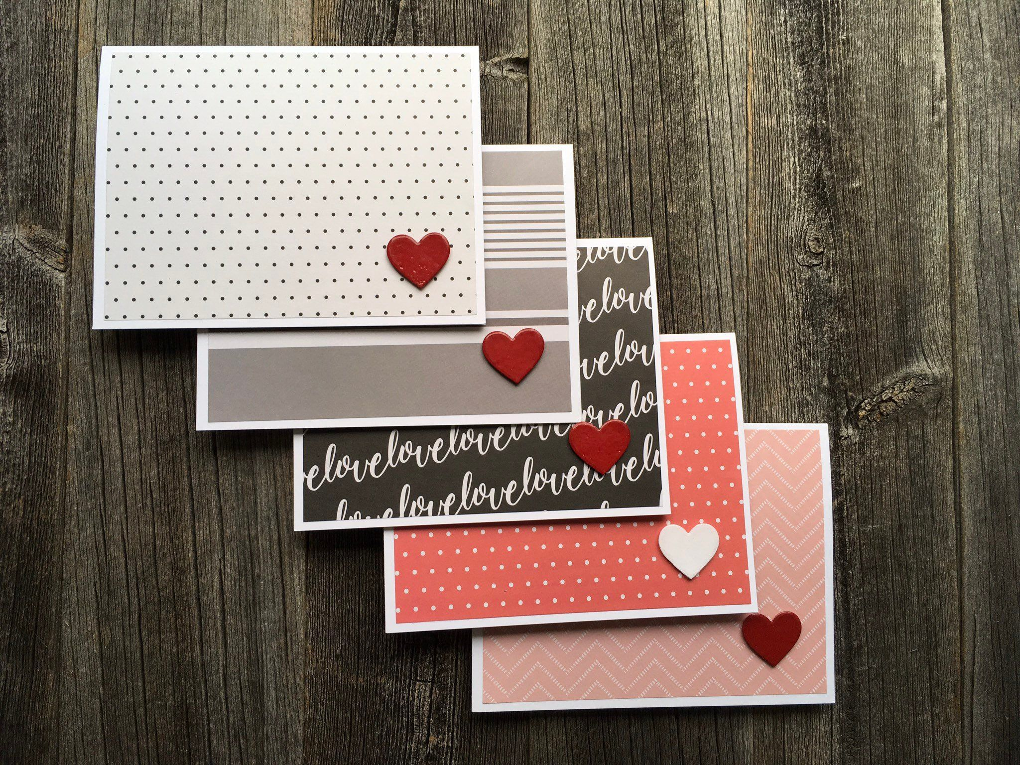 Set Of 5 Minimalist Valentine S Day Cards Handmade Cards For