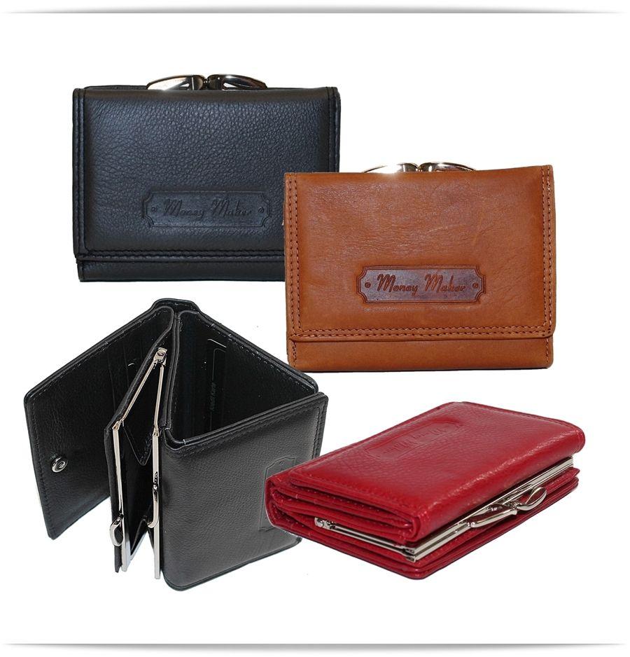 530bea29def418 Damen Leder Geldbörse mit Bügelverschluß - von Money Maker - praktische  Größe ca 9,5
