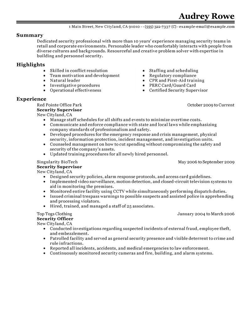 Resume Security Guard Resume Examples Fresh Supervisor Objective