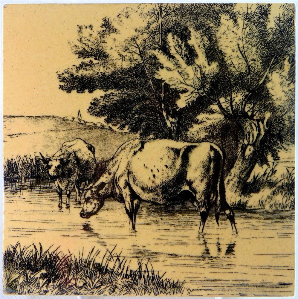 """Antique Mintons Cows in Stream Animals in Farmyard Wm Wise 6"""" Sepia Tile 1879 - Ebay £4.95"""