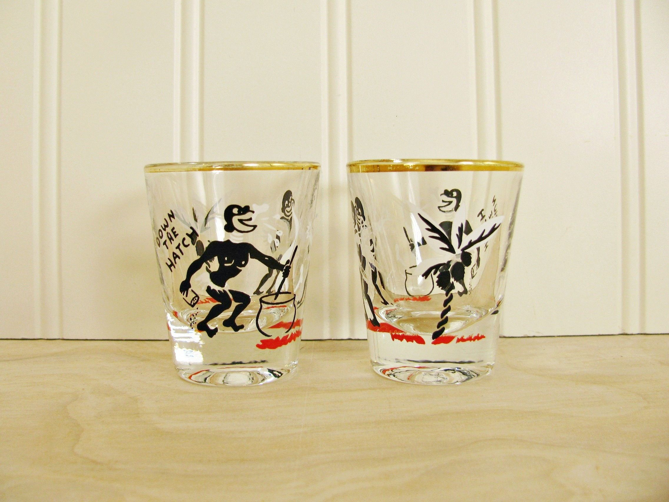 """Shot Glass Red Monkey /""""Down The Hatch/"""""""