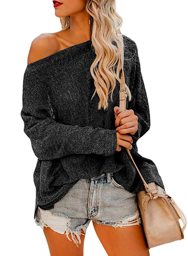 2cf37f5d75c31 Asvivid Womens Casual Off The Shoulder Criss Cross Shoulder Long Sleeve  Loose Pullover Sweatshirt Tops at Amazon Women s Clothing store