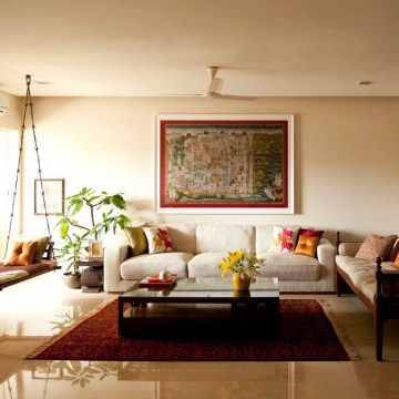 Vibrant indian homes continue reading wooden swings and for Living room decorating ideas indian style