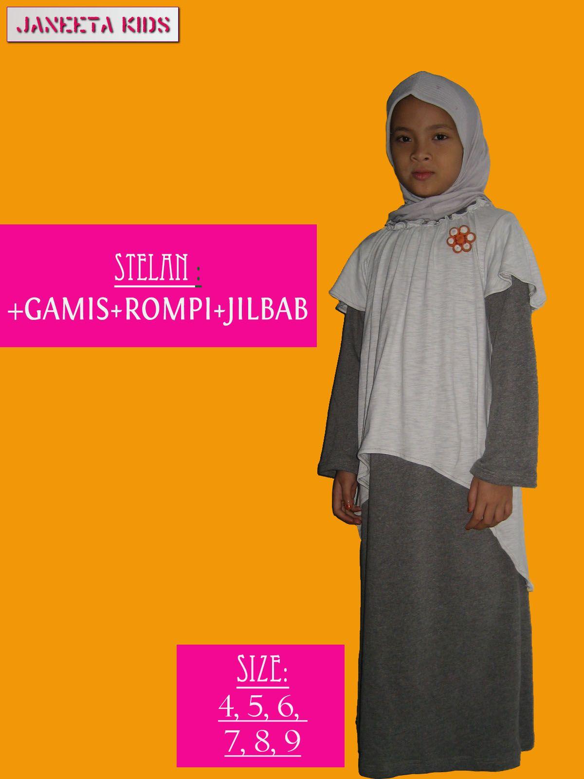 Baju Gamis Kaos Anak Dengan Rompi Ditambah Gratis Jilbab Dengan Padu