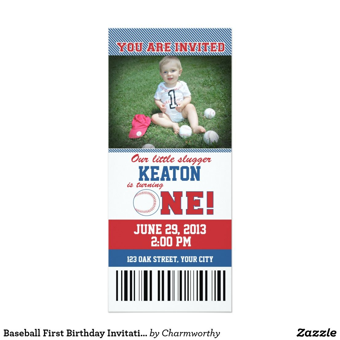 Baseball First Birthday Invitation | Baseball games and Birthdays