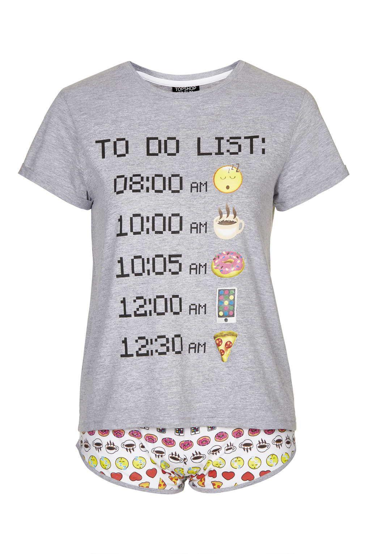 emoticons to do list pj set nightwear clothing emoji