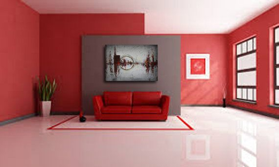 Original Abstract Art Mixed Media Collage Art Canvas Etsy In 2021 Living Room Red Paint Colors For Living Room Red Interior Design