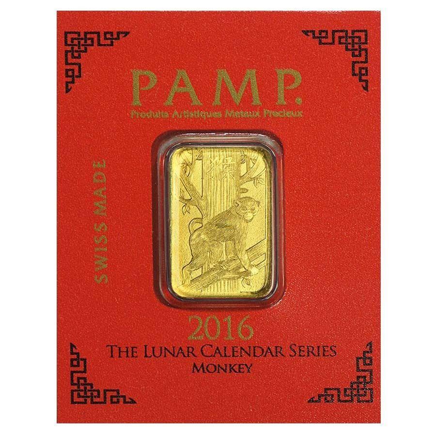 1 Gram Gold Bar Pamp Suisse Lunar Monkey 9999 Fine In Assay From Multigram 8 Gold Bar Gold Bars For Sale Gold