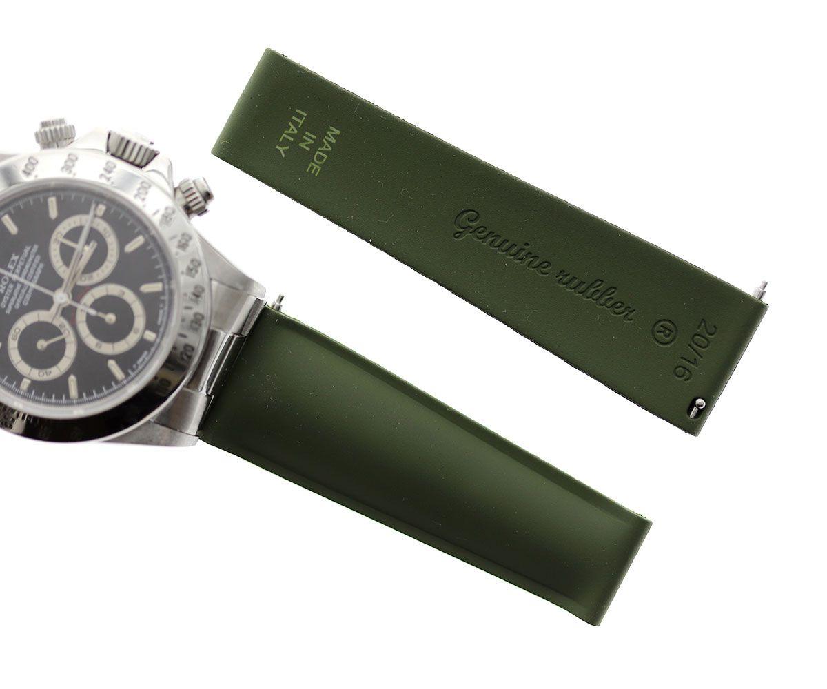 Army Green Natural Rubber Band for Rolex Daytona Watches 20mm by Visconti Milano  #rolexdaytona