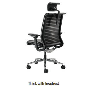 Steelcase 174 Think With Headrest 3 4 Rear Elevation