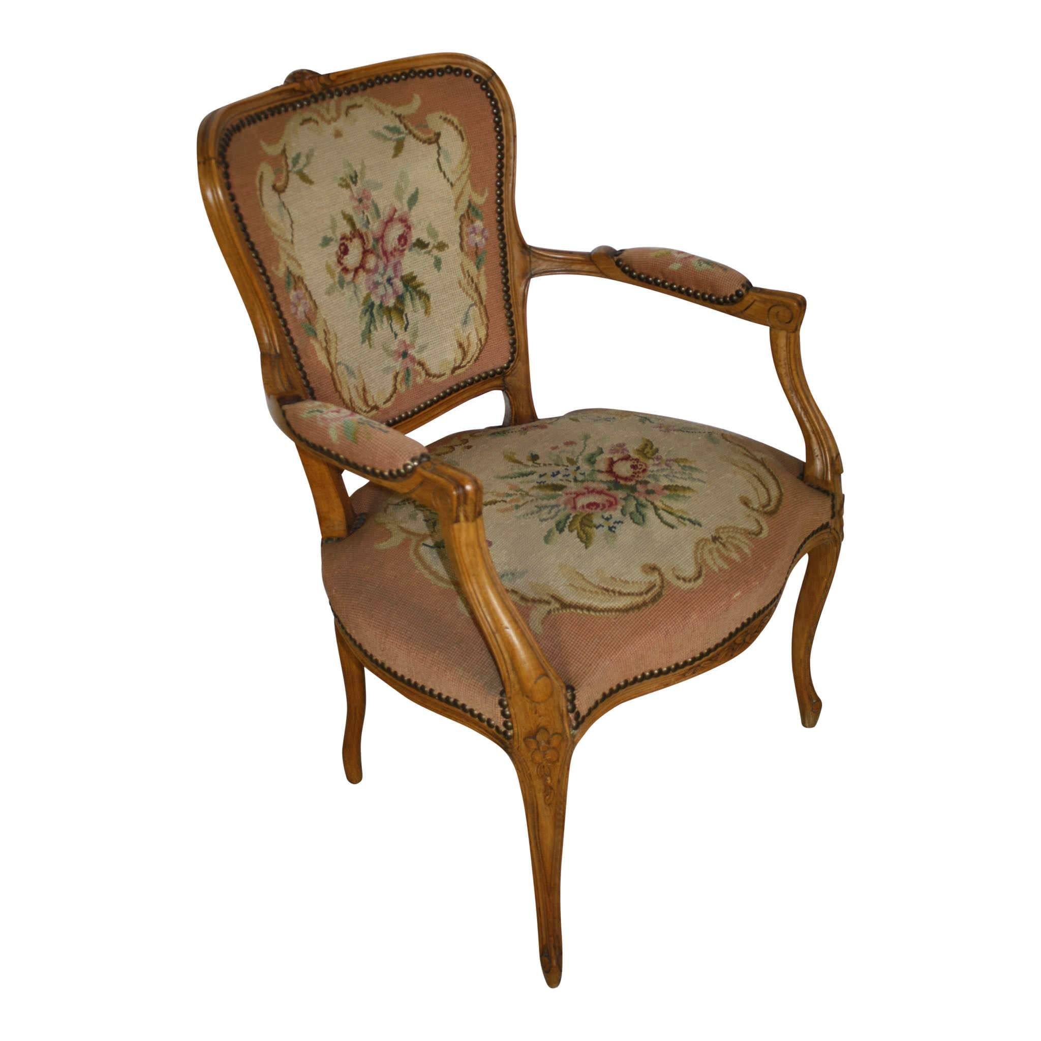 French Fauteuil Needlepoint Armchair Antique French Furniture