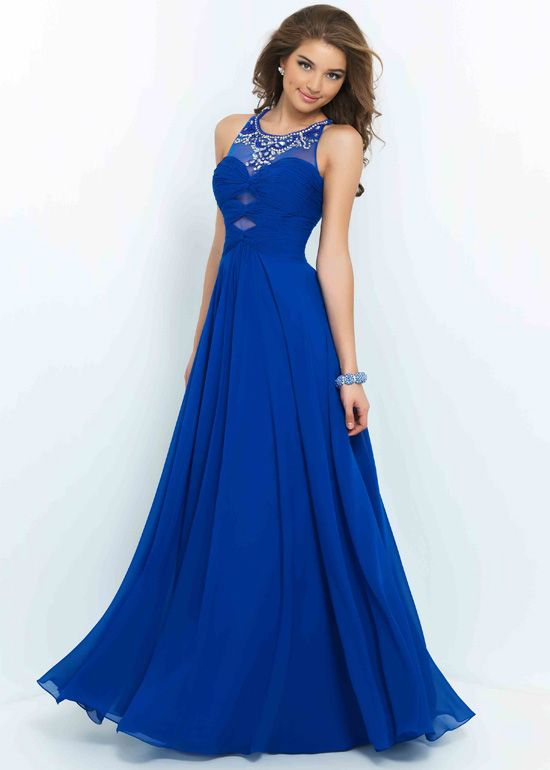 Long Flowy Sapphire Scoop Neck Beaded Cutouts Ruched Prom Dresses ...