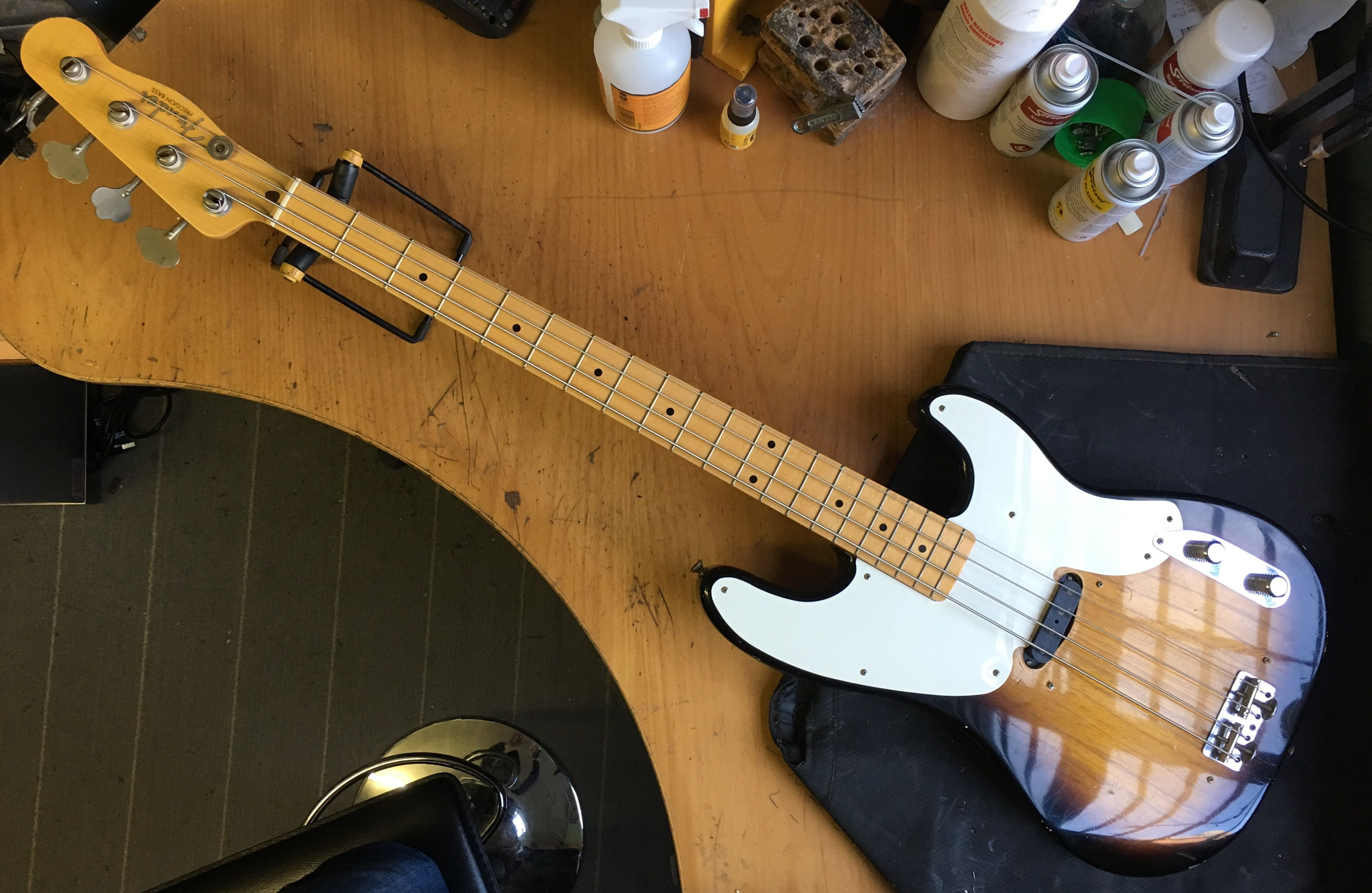 On the bench today, a Fender Custom Shop \'52 Precision Bass Relic ...