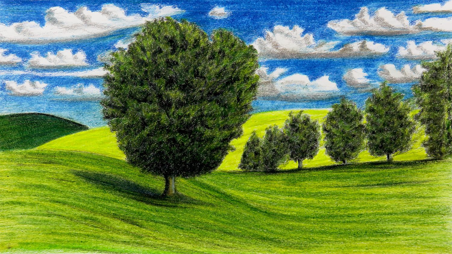 How To Draw A Landscape In Wood Colors Drawing Art Landscape Art Drawings