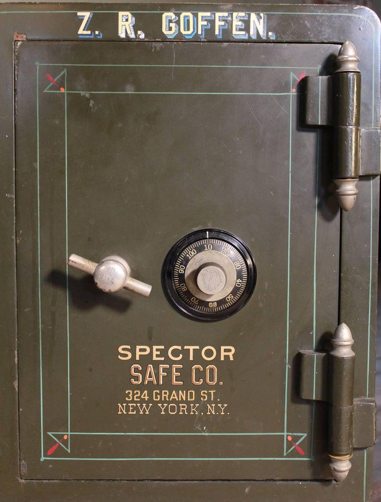 Victorian Antique Spector Safe On Wheels Painted Pinstriped