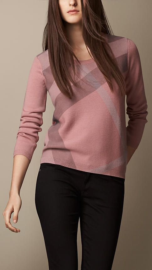726fd72ff746 Burberry Check Detail Wool Cashmere Sweater on shopstyle.com | moda ...