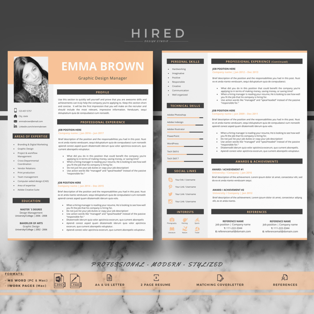 R41 EMMA BROWN CV, Modern Resume Template with Photo