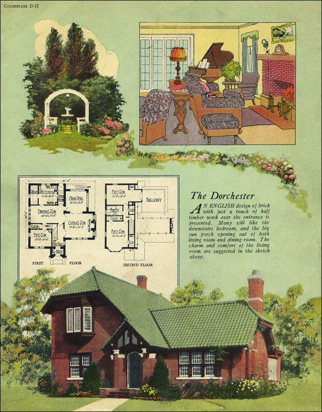 1924 William A Radford English cottage clipped gable tile roof