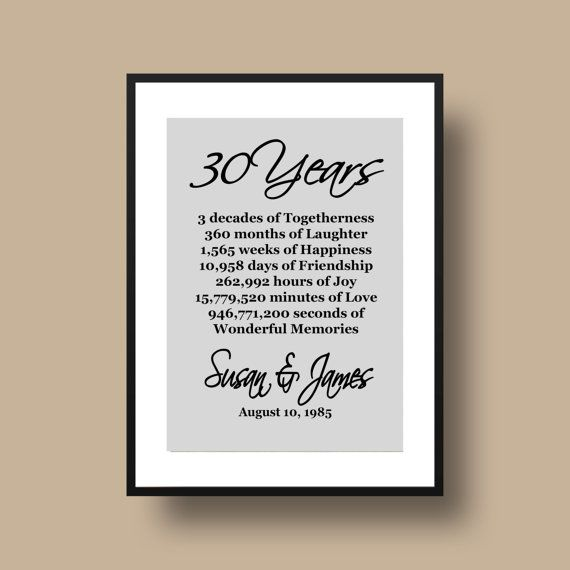Gift Ideas 30th Wedding Anniversary : ... 30th Anniversary Gift - Keepsake Gift for 30th Anniversary - PDF