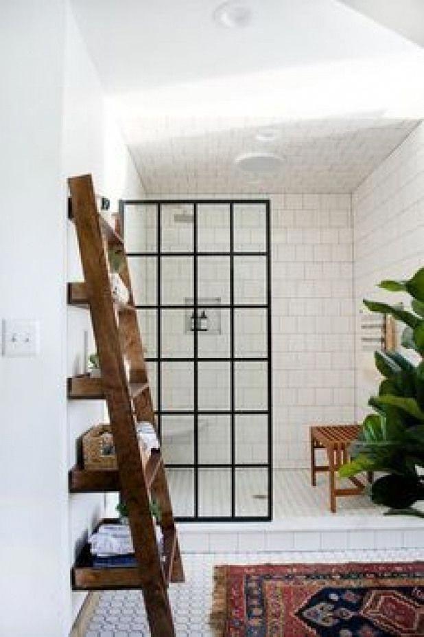 Minimal white bathroom with white subway tile moroccan rug rustic bohemian wood  Minimal white bathroom with white subway tile moroccan rug rustic bohemian wood