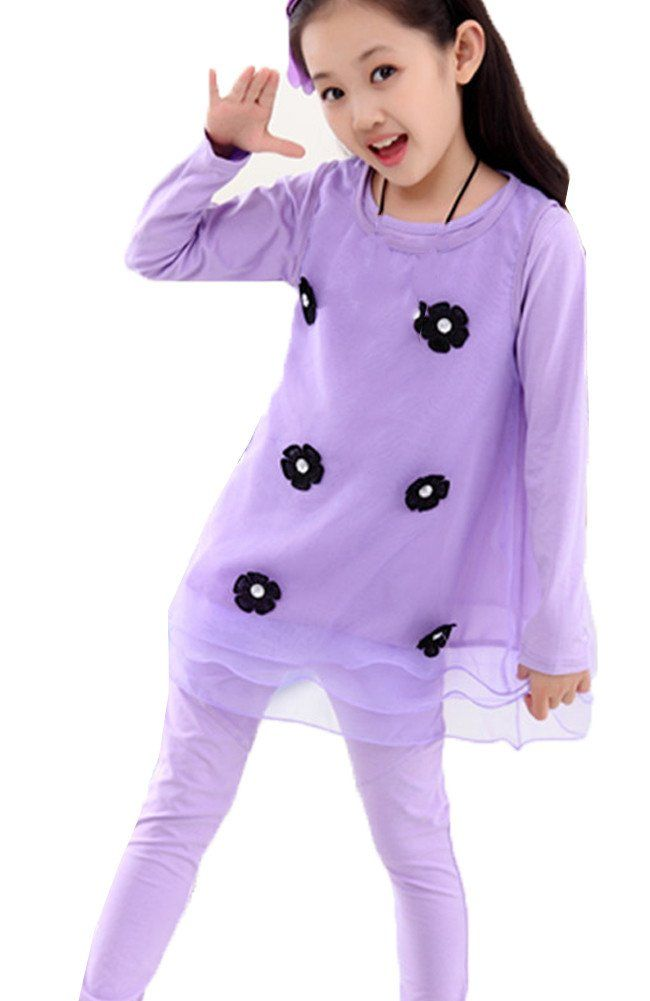 5ac2aa4d2de Nuonasi Lace Dress 3 Piece Little Girl Clothing Purple. Ages (4-9years