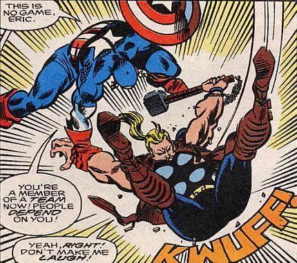 captain america teaching thunderstrike a lesson