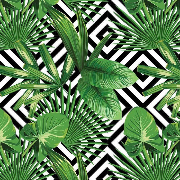 Tropical Palm Leaves Pattern Geometric Background
