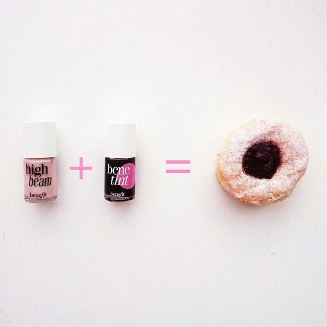 Do the jelly #donut for a delicious, rosy #flush! Apply #highbeam to your cheeks in the shape of a circle, dab #benetint in the middle  blend. #protip #afternoondelight