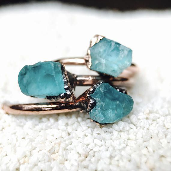 RAW  Raw Stone Ring Blue Apatite raw jewelry Bohemian Jewelry Crystal Ring Rough Gemstone Ring Healing Birthstone Gift For Her Electroform