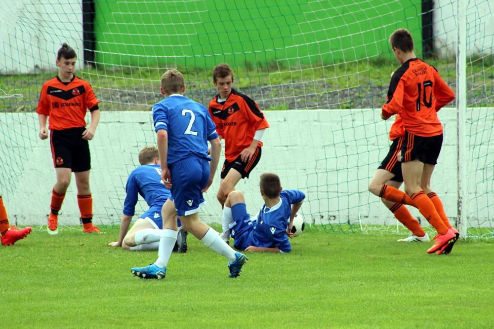 U16s Brandon Murphy pokes in from close range to double