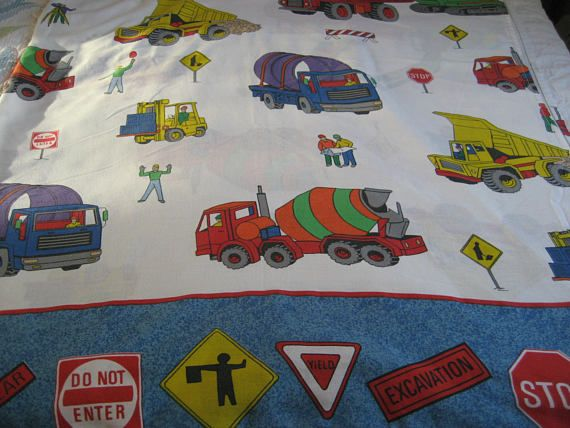 Trucks And Construction Vehicles Twin Flat Bed Sheet Child Juvenile Bedding Cannon 50